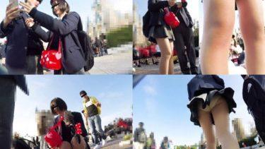 【JKパンチラ盗撮】夢の国でスラリと伸びる美白な美脚の制服女子高生!