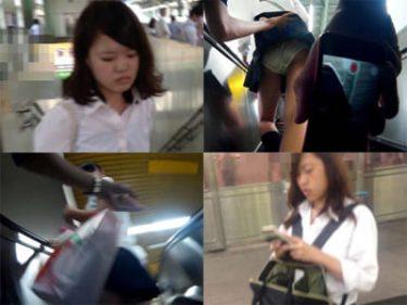 【JKパンチラ盗撮】スレンダー美脚美人の制服女子高生をスカートめくり!