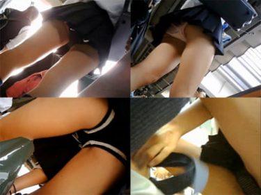 【JKパンチラ盗撮】通学の制服女子高生を接写でGET!ホームから電車まで
