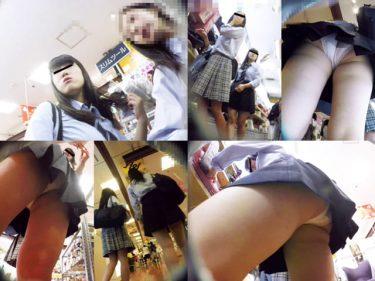 【JKパンチラ盗撮】お買い物中の原宿の制服女子高生!ストーキング
